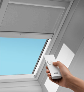 Velux solar blinds velux blinds shades velux for Electric skylight shades motorized blinds