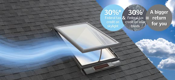 Skylight tax credit information for Velux solar skylight tax credit